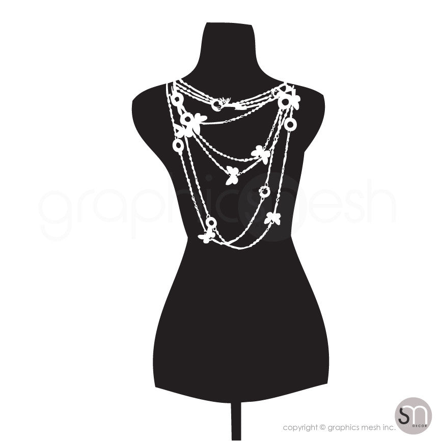 Necklace Mannequin - Dress form wall decals black