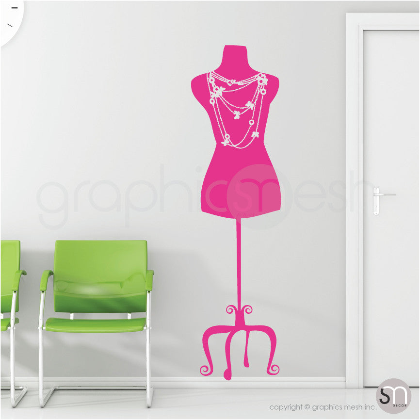 Necklace Mannequin - Dress form wall decals hot pink pink