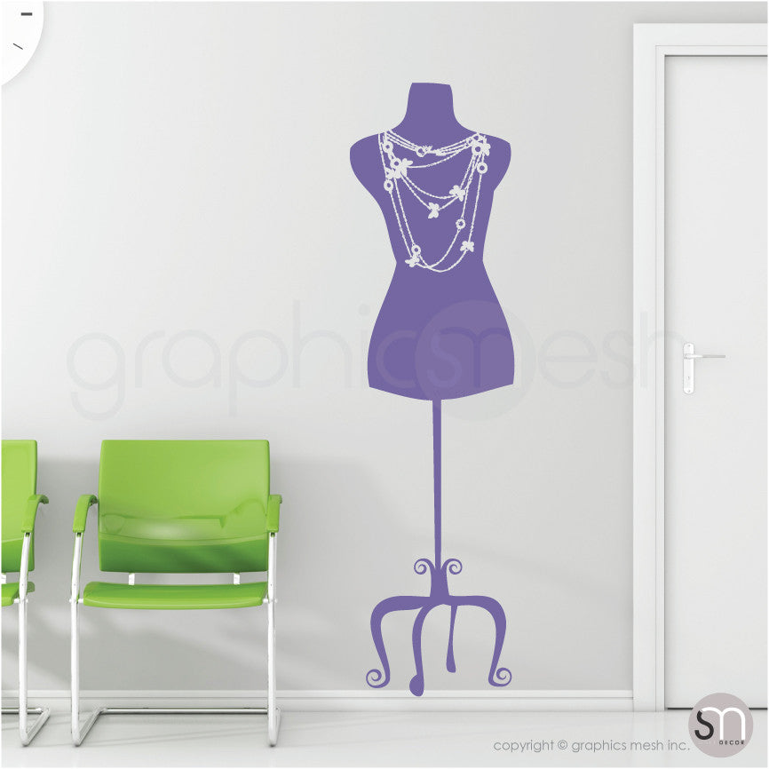 Necklace Mannequin - Dress form wall decals lavender