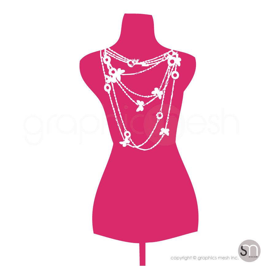 Necklace Mannequin - Dress form wall decals hot pink