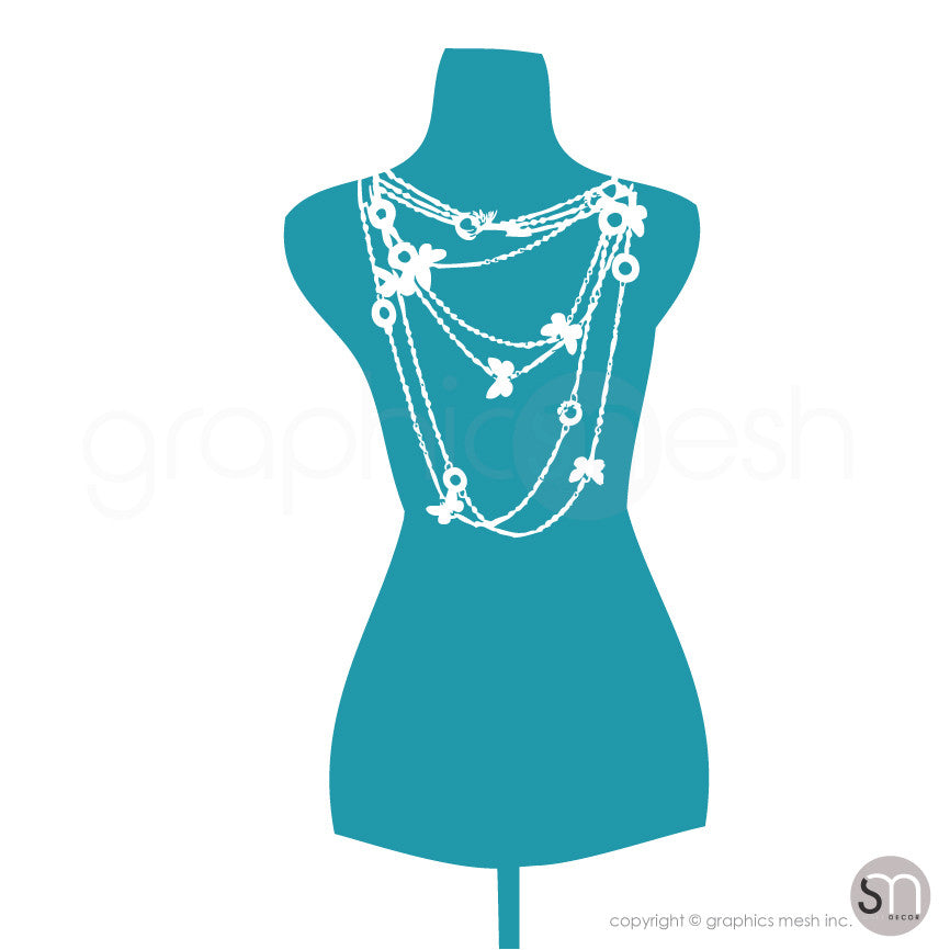 Necklace Mannequin - Dress form wall decals turquoise