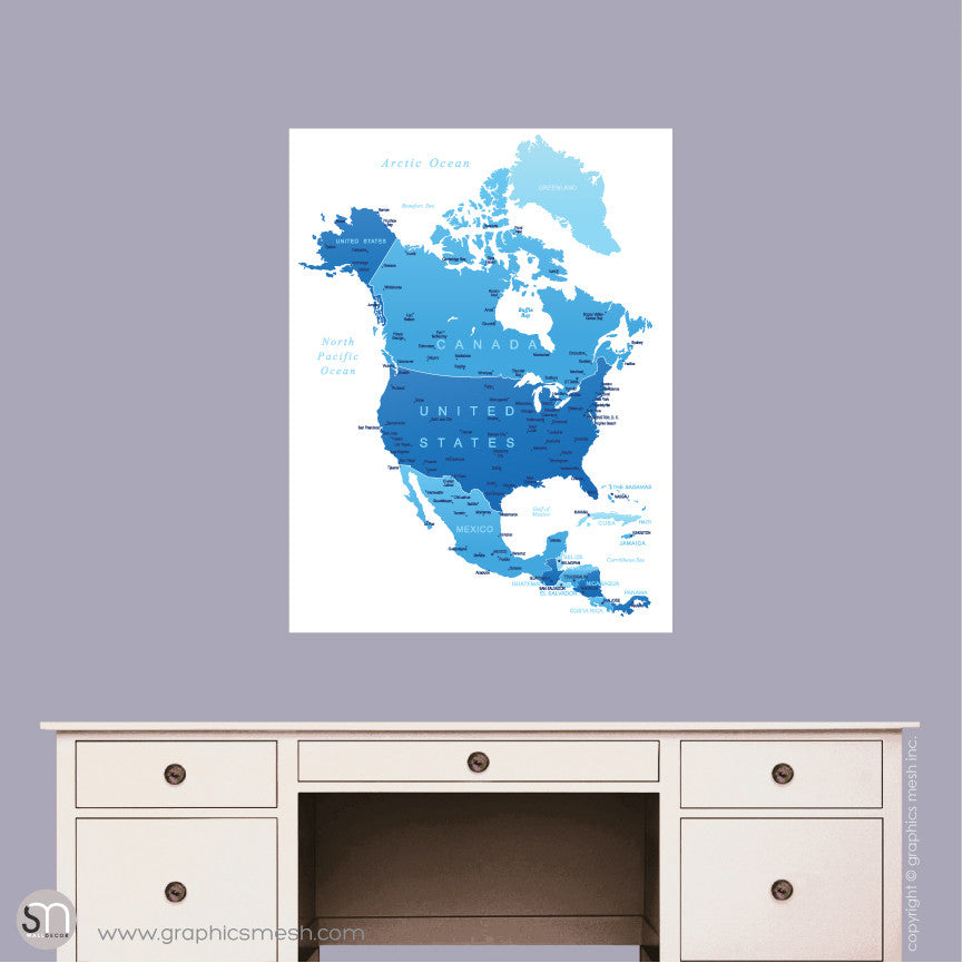 BLUE NORTH AMERICA MAP - DRY ERASE WALL DECAL Small