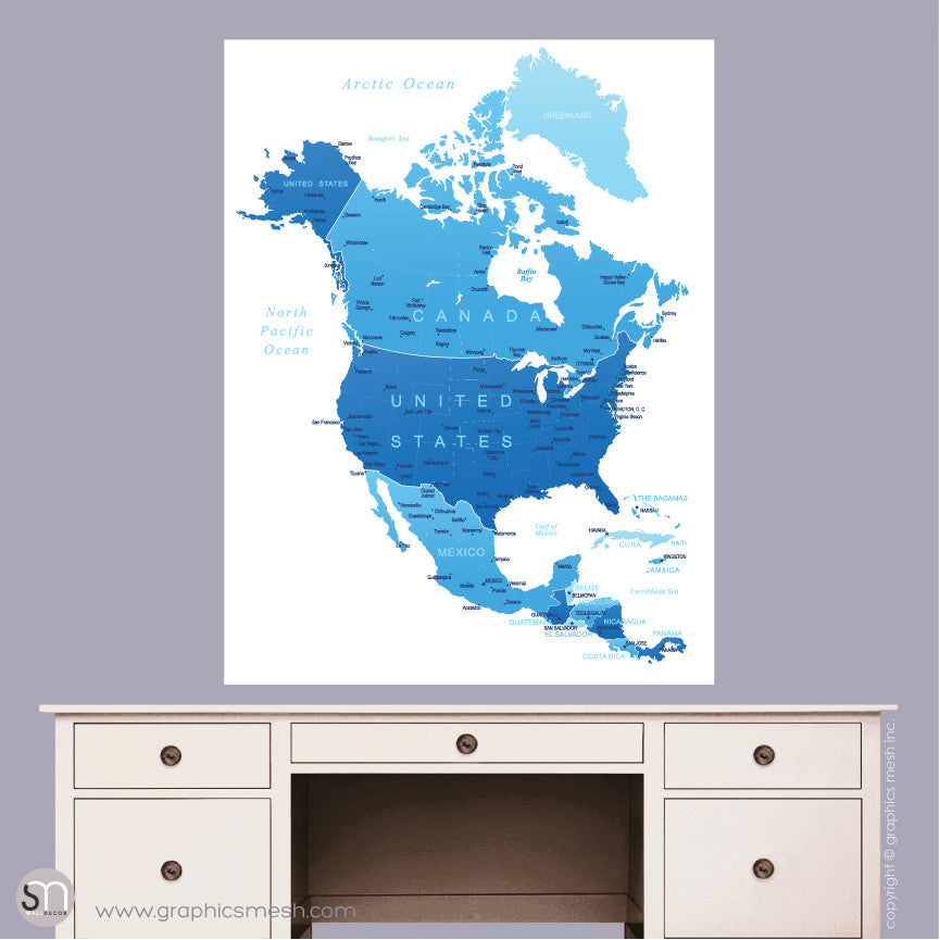BLUE NORTH AMERICA MAP - DRY ERASE WALL DECAL on travel map, rainbow map, magnetic map, butterfly map, disney map, peel stick wall map, stars map, halloween map, dry line map, metal map,