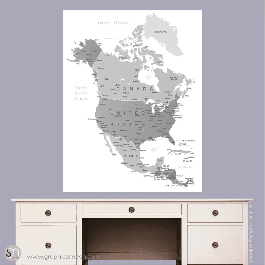 GREY NORTH AMERICA MAP - DRY ERASE WALL DECAL Large