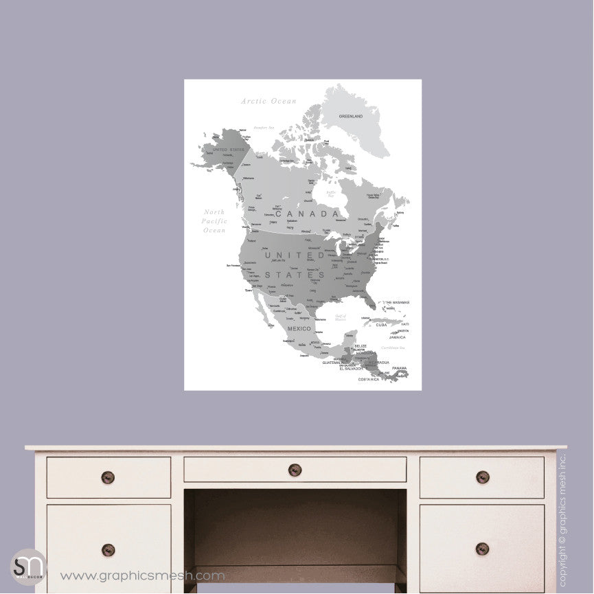 GREY NORTH AMERICA MAP - DRY ERASE WALL DECAL Small