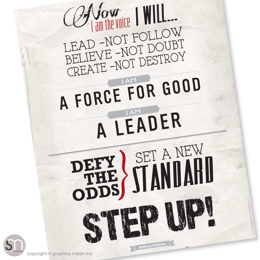 STEP UP! Tony Robbins motivational poster - Art Print Download 10x13