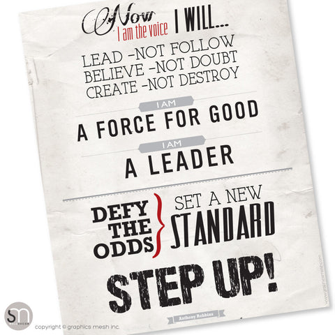 STEP UP! Tony Robbins motivational poster - Art Print Download
