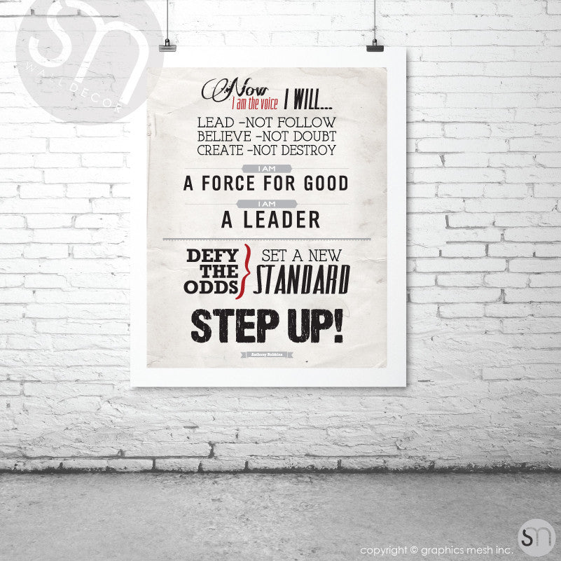 """STEP UP"" Quote by Tony Robbins - Typography Art Print"