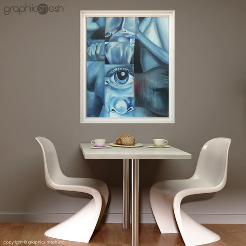 Blue Body - Original Fine Art Painting - Oil on Canvas with white frame