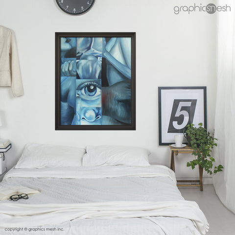 Blue Body - Original Fine Art Painting - Oil on Canvas in room