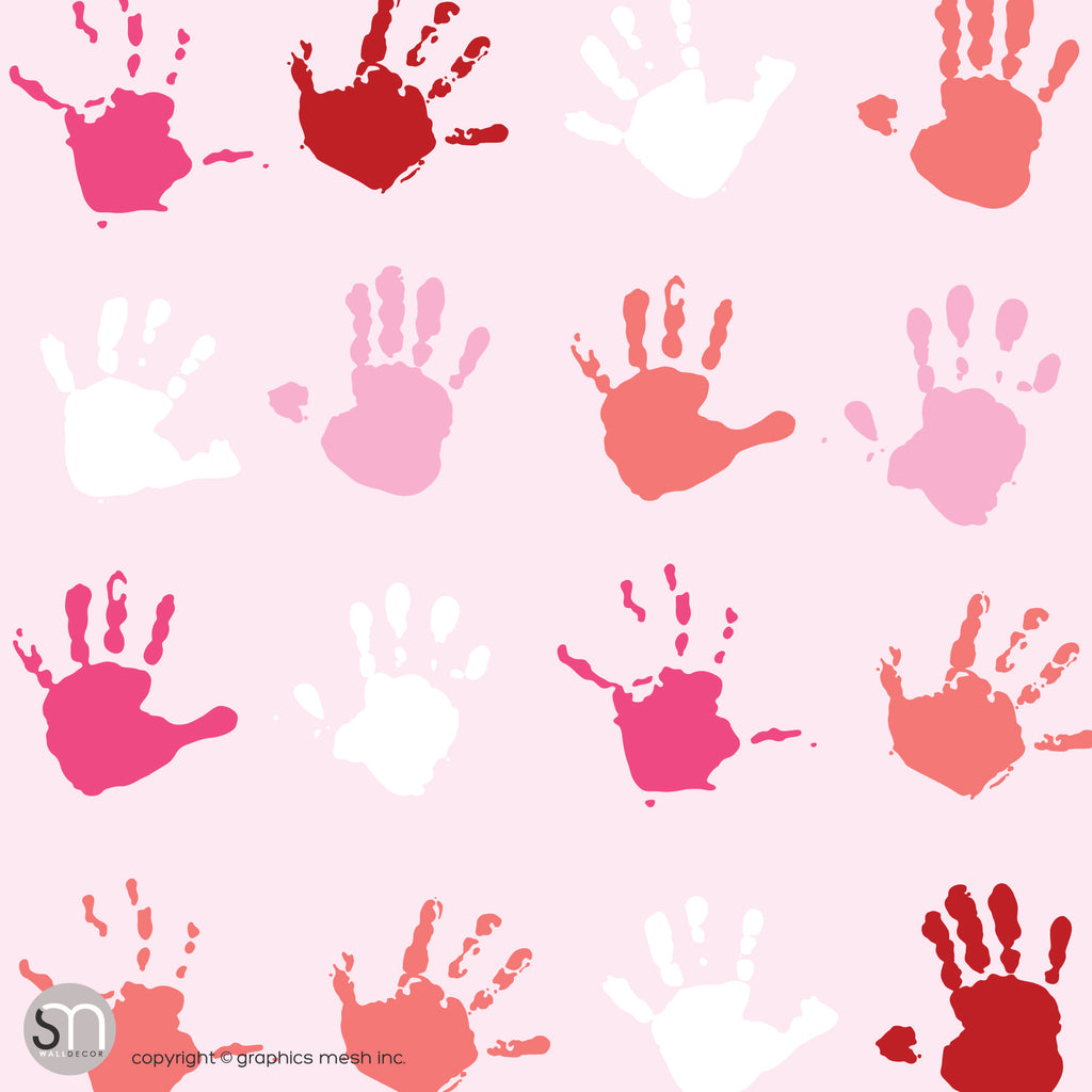 PAINT HAND PRINTS IN PINK - Peel & Stick Wallpaper
