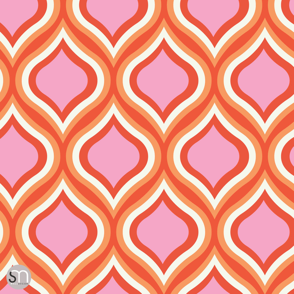 Pinks reds retro peel stick wallpaper graphicsmesh for Orange peel and stick wallpaper