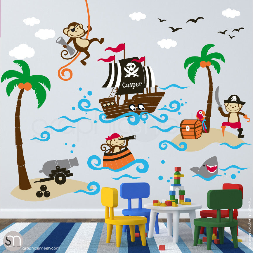 Pirates Kids Wall Decal: PIRATE MONKEYS SET Wall Decals Mural