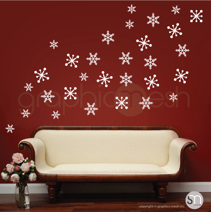 PLAYFUL CHRISTMAS SNOWFLAKES  - Holiday Wall Decals White