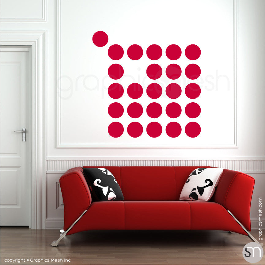 "POLKA DOTS 9 x 9"" - Wall Decals red"