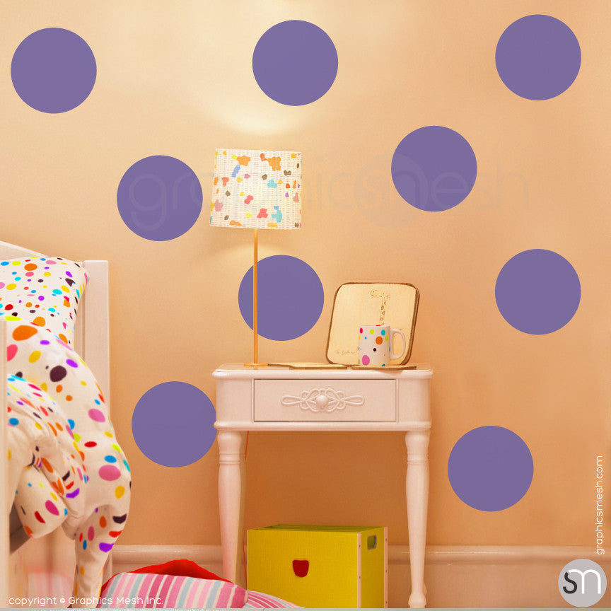 "POLKA DOTS 9 x 9"" - Wall Decals lavender"