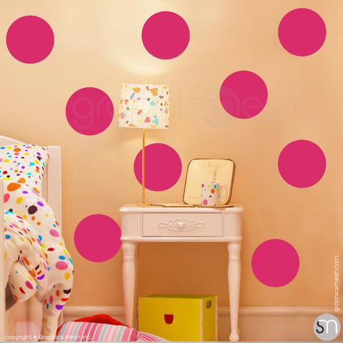 "POLKA DOTS 9 x 9"" - Wall Decals hot pink"