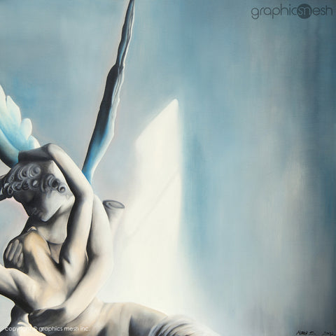 Blue Psyche Revived by Cupid's Kiss - Original Fine Art Painting - Oil on Canvas