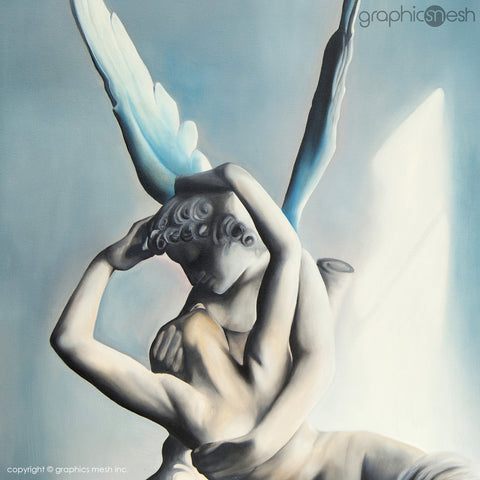 closeup BLUE PSYCHE REVIVED BY CUPIDS KISS - Reproduction of Original Fine Art Painting - Glicee Print