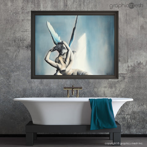 BLUE PSYCHE REVIVED BY CUPIDS KISS - Reproduction of Original Fine Art Painting - Glicee Print framed