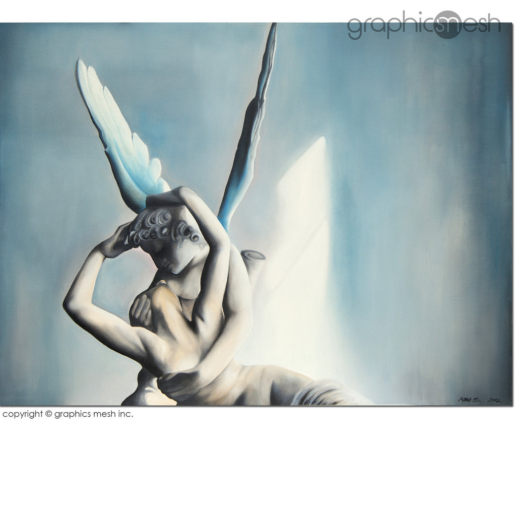 BLUE PSYCHE REVIVED BY CUPIDS KISS - Reproduction of Original Fine Art Painting - Glicee Print full painting