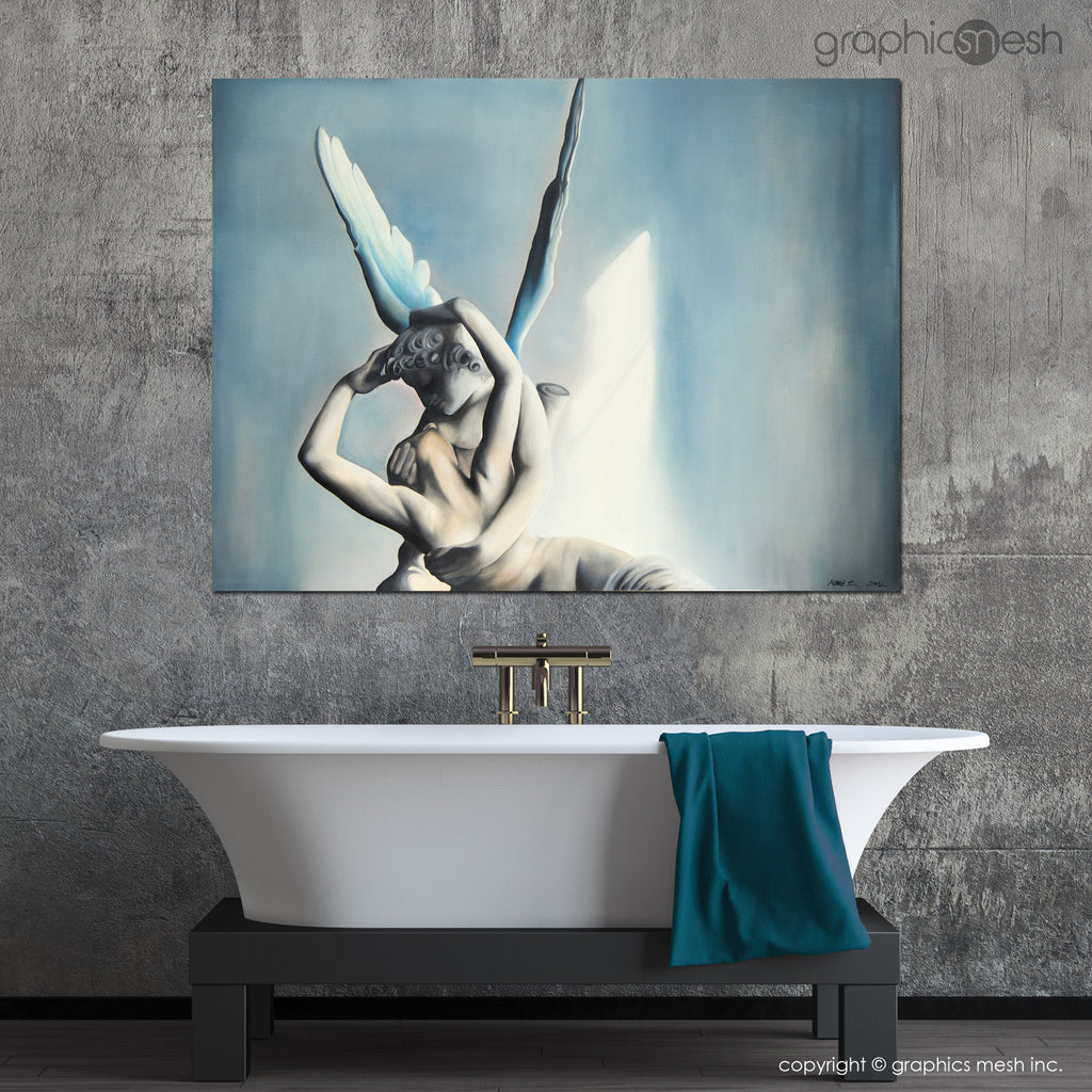 BLUE PSYCHE REVIVED BY CUPIDS KISS - Reproduction of Original Fine Art Painting - Glicee Print in the bathroom