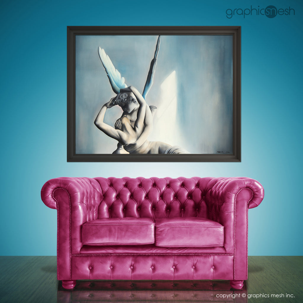 BLUE PSYCHE REVIVED BY CUPIDS KISS - Reproduction of Original Fine Art Painting - Glicee Print