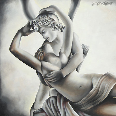 Psyche Revived by Cupid's Kiss - Original Fine Art Painting - Oil on Canvas