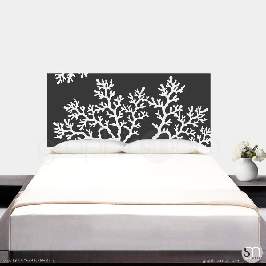CORAL BRANCH HEADBOARD   Wall Decal Dark Grey ...