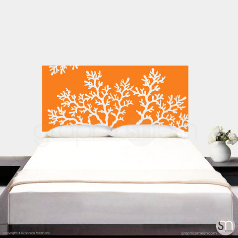 CORAL BRANCH HEADBOARD - Wall Decal orange