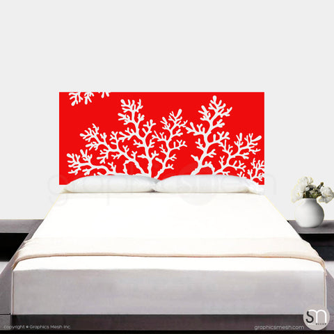 CORAL BRANCH HEADBOARD - Wall Decal red