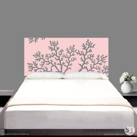 CORAL BRANCH HEADBOARD - Wall Decal baby pink
