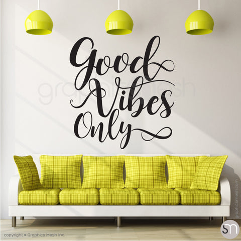 """GOOD VIBES ONLY"" QUOTE WALL DECALS black"