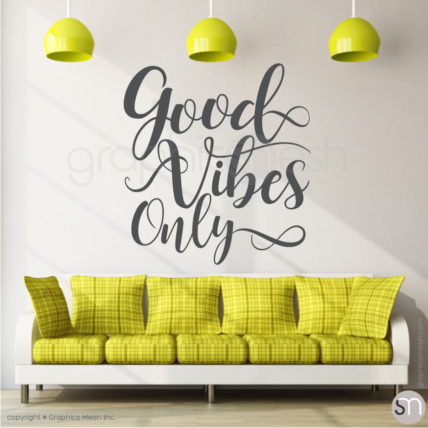 """GOOD VIBES ONLY"" QUOTE WALL DECALS dark grey"