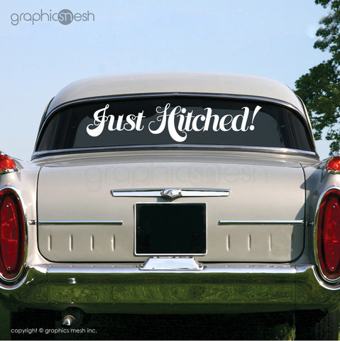 """Just Hitched"" Wedding decals - Car/limo sign"