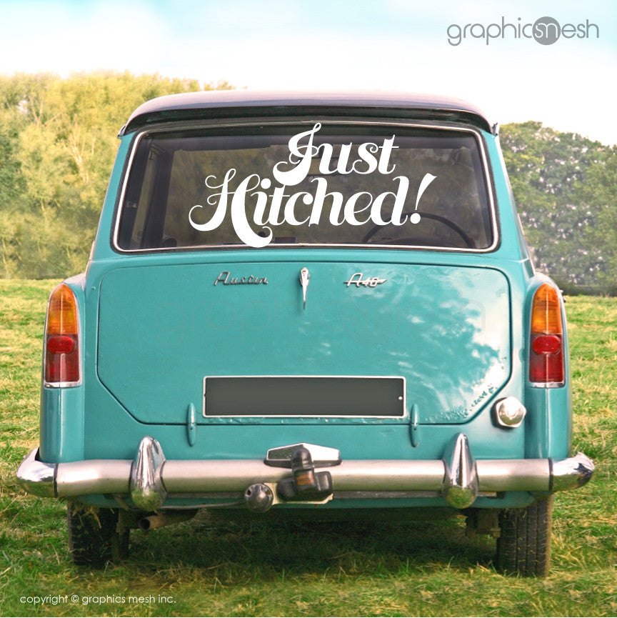 Just Hitched Wedding decals - Car/limo sign Just married
