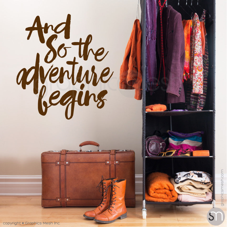 """And so the adventure begins"" QUOTE WALL DECALS brown"
