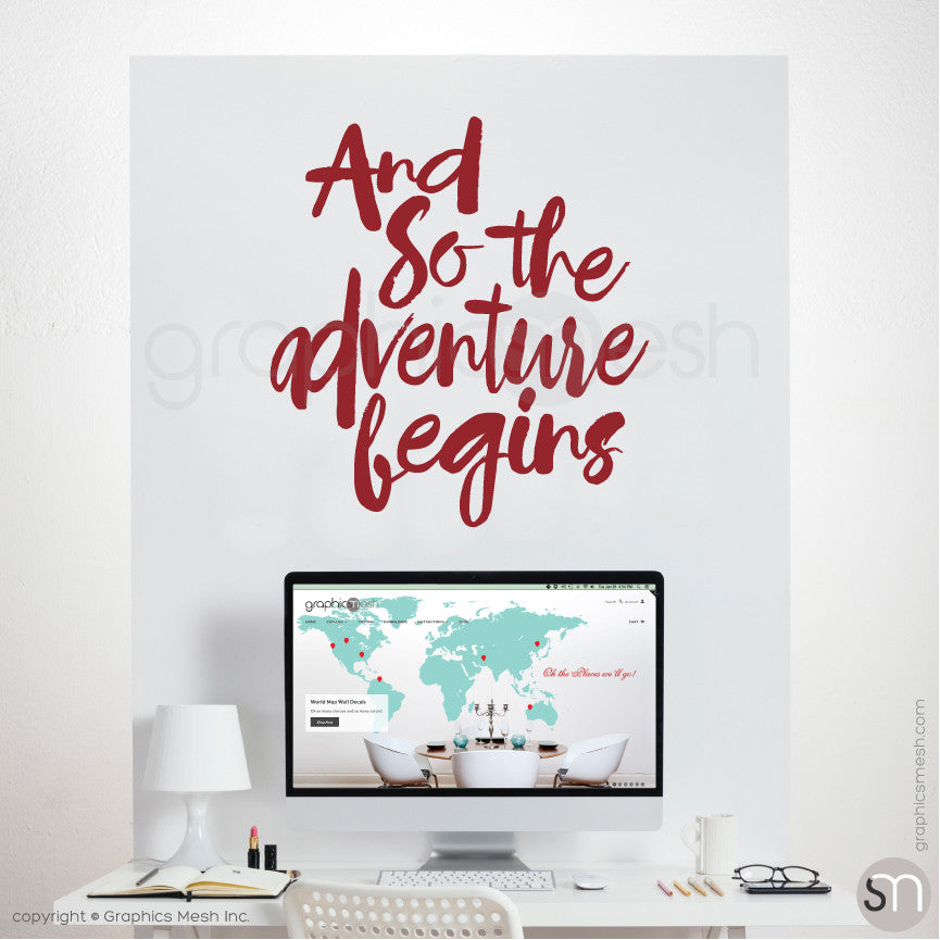 """And so the adventure begins"" QUOTE WALL DECALS dark red"