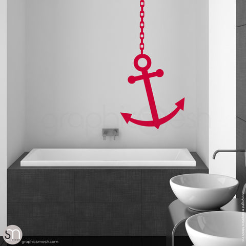 ANCHOR ON CHAIN - Wall decal red