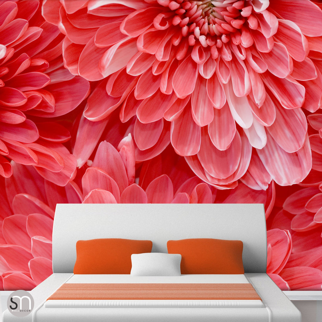 RED FLOWER CLOSEUP - Wall Mural bedroom