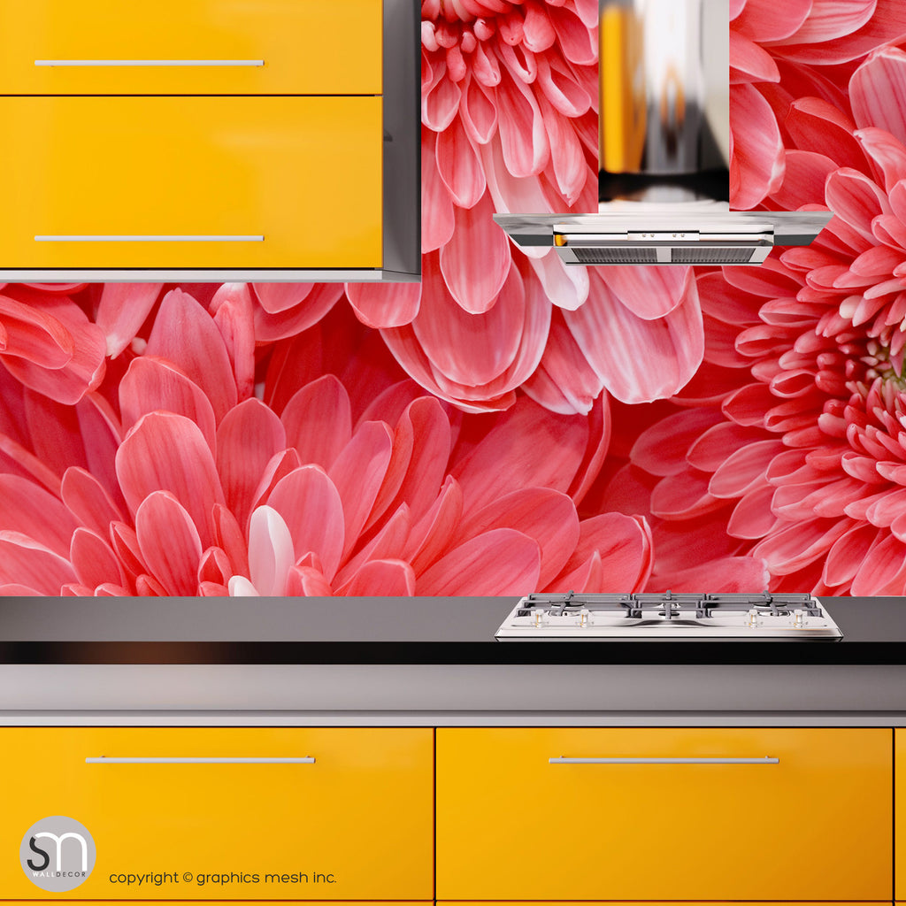 RED FLOWER CLOSEUP - Wall Mural kitchen