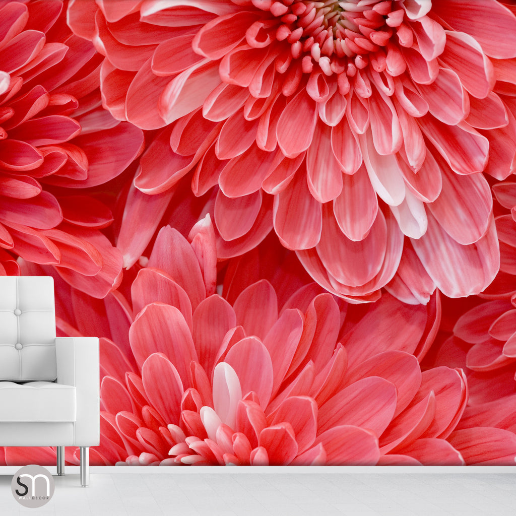 RED FLOWER BURST - Wall Mural