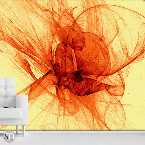 RED SILK SHAPES ON YELLOW - Abstract Wall Mural