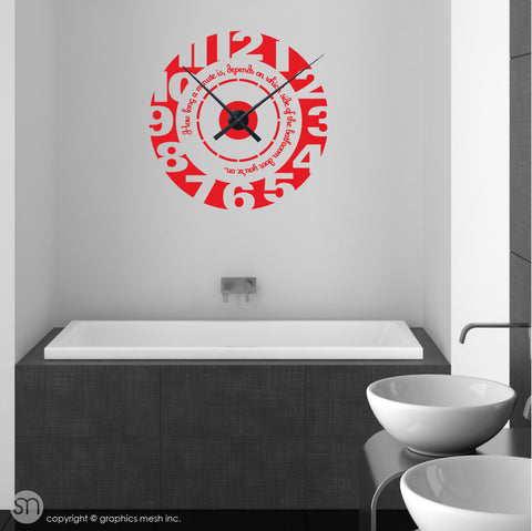 Clock wall decal with quote RED