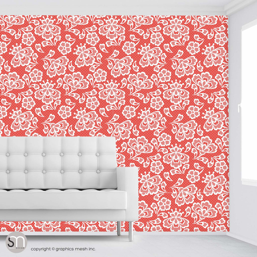 Floral Embroidery in Red Apple - Peel & Stick Abstract Wallpaper