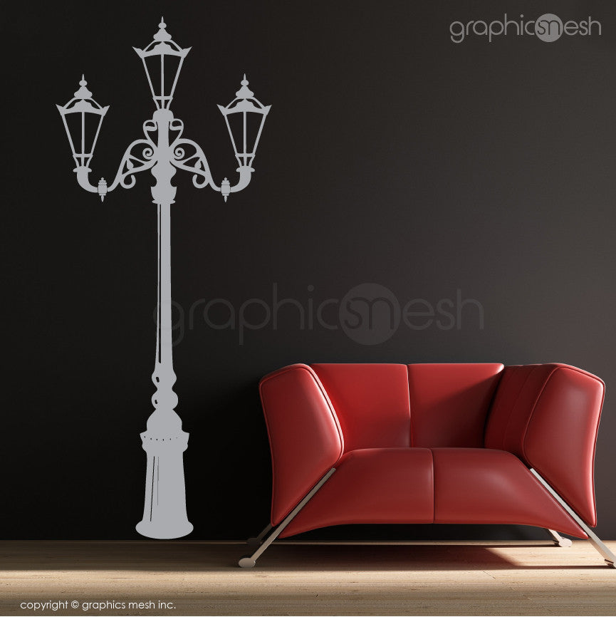 Retro Street Lamp Wall Decals grey