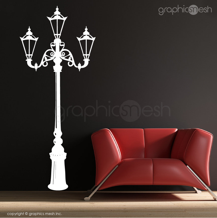 Retro Street Lamp Wall Decals white
