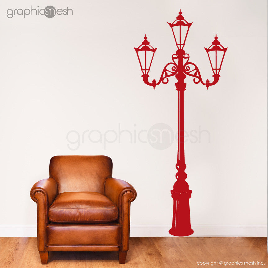 Retro Street Lamp Wall Decals Red