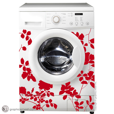 ROSES FLOWER WASHER DECOR - Domesticated Wall Decals Red
