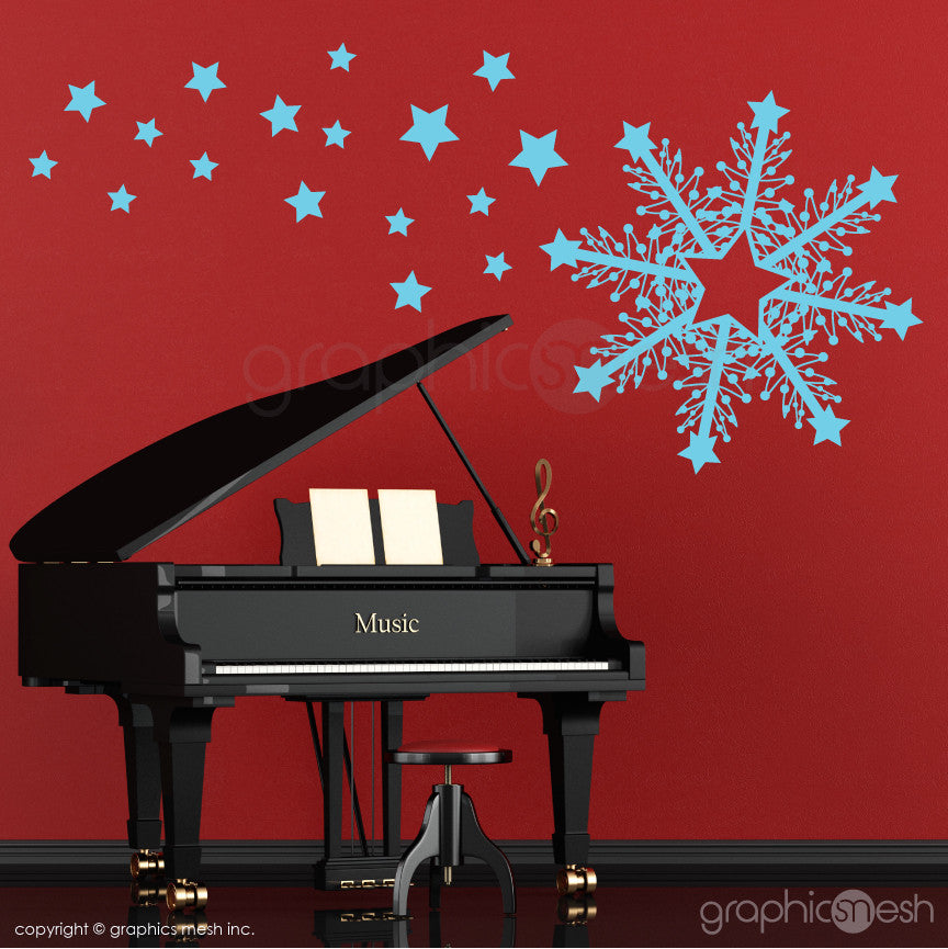 CHRISTMAS HUGE SNOWFLAKE & STARS - Holiday Wall Decals blue